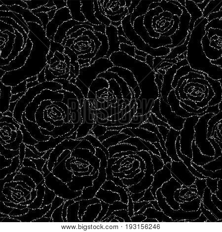 Seamless Pattern With Vector Silver Glitter Roses. Vector Illustration Of A Silhouette Of A Flower,