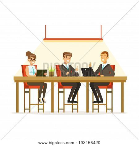 Coworking people exchanging ideas and experience at business meeting in office vector Illustration isolated on a white background