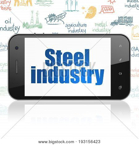 Industry concept: Smartphone with  blue text Steel Industry on display,  Hand Drawn Industry Icons background, 3D rendering