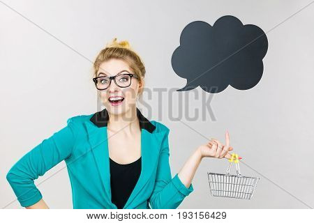 Business Woman Holding Small Tiny Shopping Cart