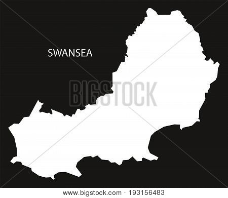 Swansea Wales Map Black Inverted Silhouette Illustration
