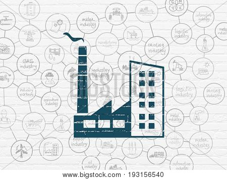 Industry concept: Painted blue Industry Building icon on White Brick wall background with Scheme Of Hand Drawn Industry Icons