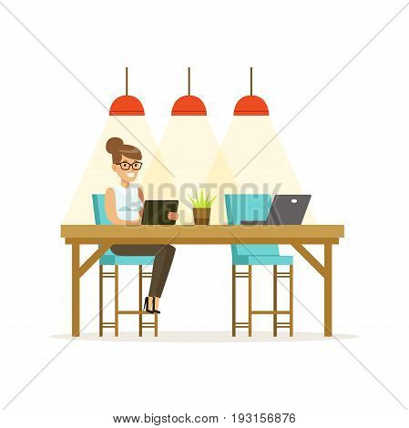 Businesswoman working using a tablet in the open space office vector Illustration isolated on a white background