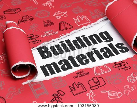 Construction concept: black text Building Materials under the curled piece of Red torn paper with  Hand Drawn Construction Icons, 3D rendering