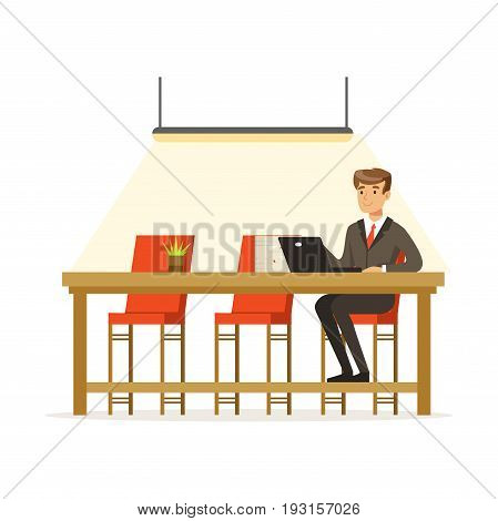 Businessman working with laptop in the open space office vector Illustration isolated on a white background