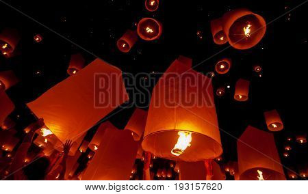Floating lantern in Yee Peng festival (Loy Krathong) Buddhist floating lanterns to the Buddha in Sansai district in CHIANG MAI THAILAND