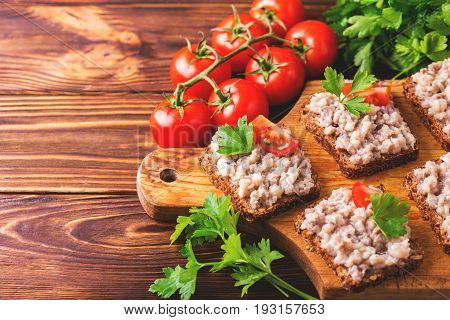 Toast With Kosher Forshmak Paste, Parsley And Cherry Tomatoes