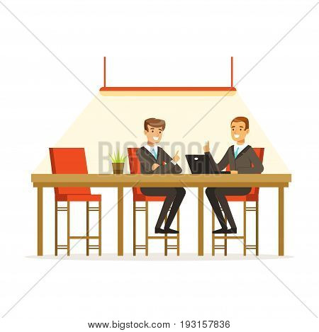 Businesspeople discussing ideas in the open space office, coworking people vector Illustration isolated on a white background