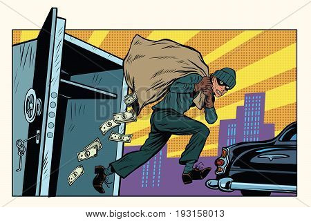 thief escapes from a Bank, bag of money. Crime and detective. Pop art retro vector illustration