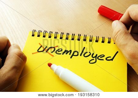Unemployed with crossed letters. Successful employment concept.