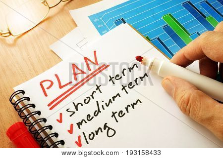 Plan with list short, medium and long term.