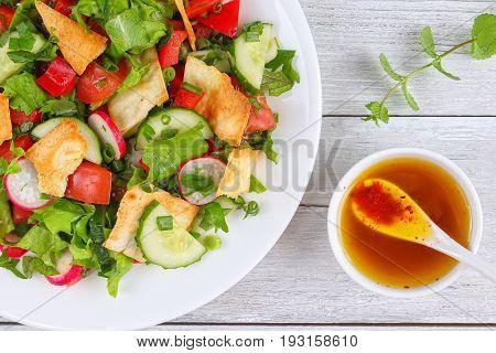 Fattoush Or Bread Salad With Pita