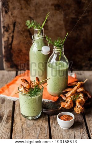 Chilled Cucumber Soup With Prawns