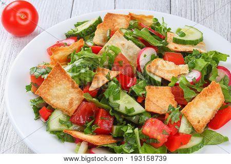 Fattoush Or Arab Salad With Pita Croutons