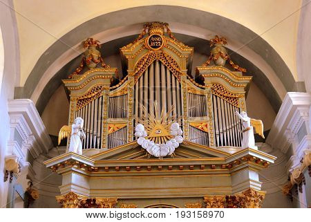 Organ Inside The Medieval Fortified Saxon Church In The Village Crit, Transylvania