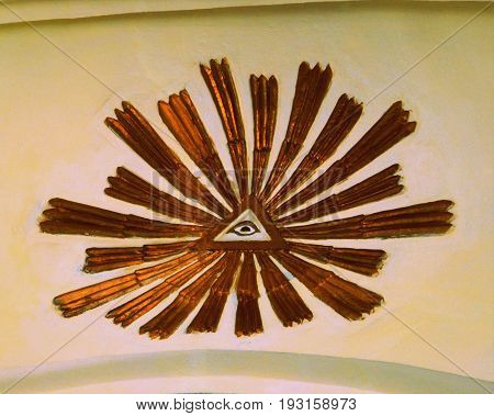 Ornament On Ceiling Of The Medieval Fortified Saxon Church In The Village Crit, Transylvania