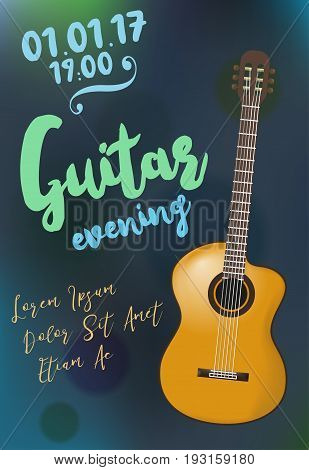 Acoustic guitar event. Vector design template for flyer, poster, invitation