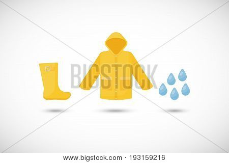 Raincoat rainboots and rain drops vector flat icons set Flat design of rainy weather clothing isolated on the white background with round shadows vector illustration