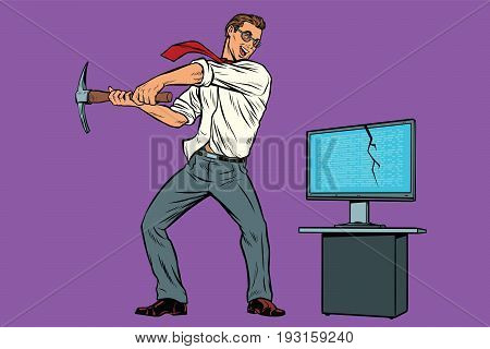 Businessman breaks the computer, cryptographer virus ransomware lock. Internet and network security. Pop art retro comic book vector illustration