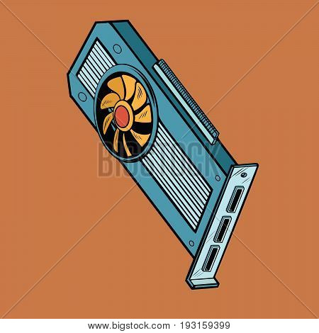 computer graphics card, a peripheral device for gamers, professionals and cryptocurrency. Pop art retro comic book vector illustration