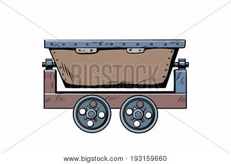 Metal mining trolley. Pop art retro comic book vector illustration