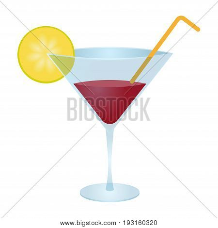 Vector glass of cosmopolitan cocktail isolated on white background