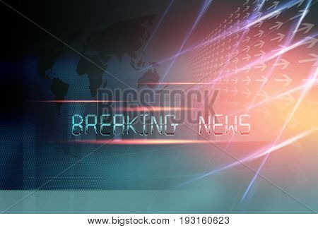Graphical Breaking News Background with directions and world map.