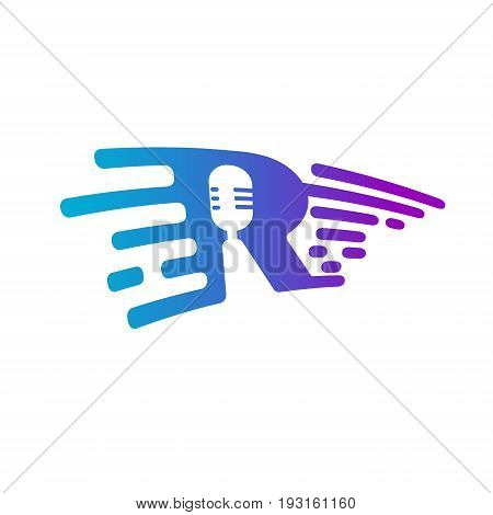Microphone radio logo Voice recorder Interview karaoke audio jack sign sign Isolated on white background. Trendy Flat style for graphic design logo Web site social media UI mobile app
