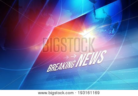 Graphical breaking news text with lens flare and earth globe background. 3d Illustration 3d Render
