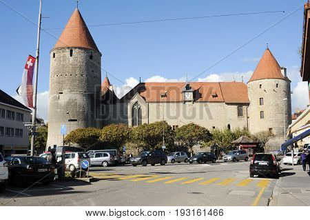 The Old Town Of Yverdon Les Bains On Switzerland