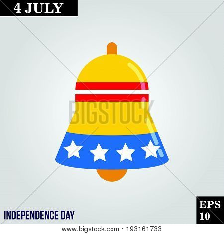 Bell icon in trendy flat style isolated on grey background. Usa independence day symbol for your design, logo, UI. Vector illustration, EPS10.