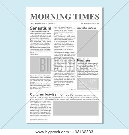 Graphical design newspaper journal template Paper tabloid on newsprint, daily publication information illustration
