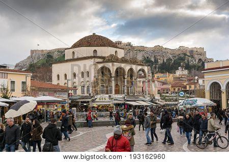 ATHENS, GREECE - JANUARY 20 2017:  Panorama of Monastiraki square, Athens, Attica, Greece