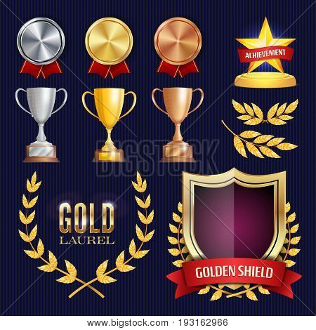 Vector Awards And Trophies Collection. Golden Badges And Labels. Championship Design. 1st, 2nd, 3rd Place. Golden, Silver, Bronze Achievement. Empty Badge
