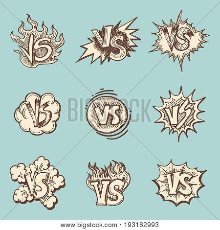 Vintage versus hand drawn labels collection. Vector illustration
