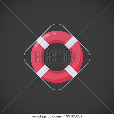 Ring buoy vector flat icon Flat design of first aid and healthcare object isolated on the dark background vector illustration