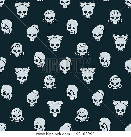 Girl skull seamless pattern. Vector cute skull seamless texture on dark background