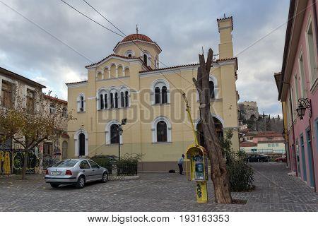 ATHENS, GREECE - JANUARY 20, 2017:  Amazing view of Ekklisia Panagia Grigorousa in Athens, Attica, Greece