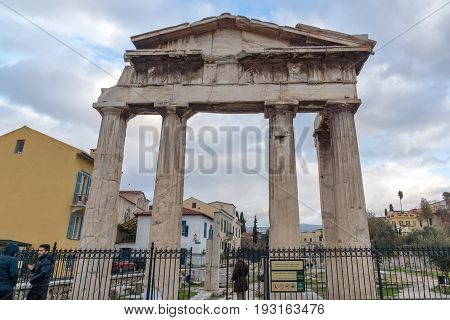 ATHENS, GREECE - JANUARY 20 2017:  Sunset view of Roman Agora in Athens, Attica, Greece