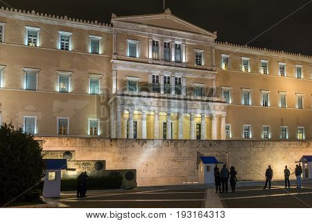 ATHENS, GREECE - JANUARY 20 2017:  Night photo of The Greek parliament in Athens, Attica, Greece