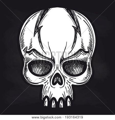 Hand drawn agressive monsters skull on blackboard background. Vector illustration