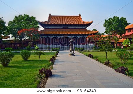 Chinese Buddhist temple in Lumbini, Nepal - birthplace of Buddha Siddhartha Gautama.