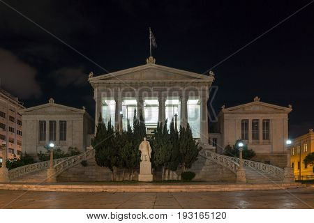 ATHENS, GREECE - JANUARY 19 2017:  Night view of National Library  of Athens, Attica, Greece