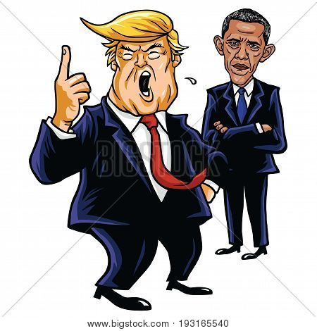 Donald Trump and Barack Obama. Cartoon Caricature Vector Illustration Drawing. June 29, 2017