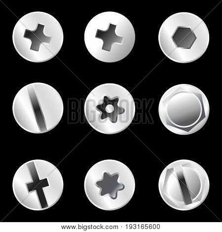 Self Tapping Screw Isolated on background vector illustration.