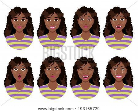 Women's emotions. Female face expression. Calm smile sadness joy surprise anger laughter crying. Cute cartoon girl. Woman avatar. Vector illustration