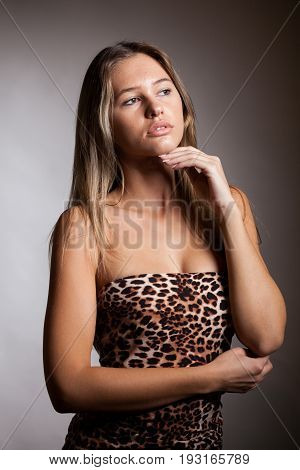 Young woman with no makeup in studio photo. Beauty and healthy. Fresh looking person