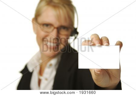 Beautiful Operator Holding Blank Business Card