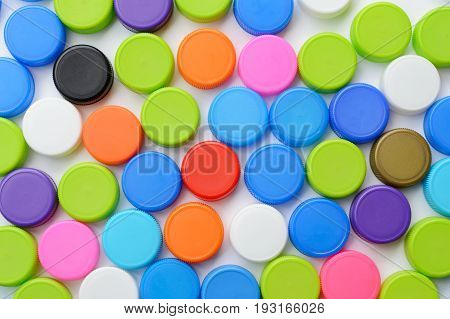colorful plastic bottle cap use for background