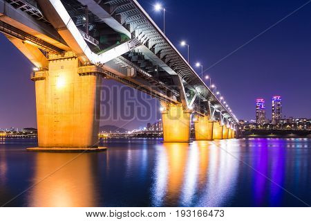 Bridge In Korea And Han River, Cheongdamdaegyo Or Cheongdam Bridge In Seoul, South Korea.